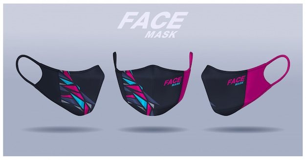 Modello di progettazione maschera facciale, protezione dalla polvere e respirazione respiratoria medica.