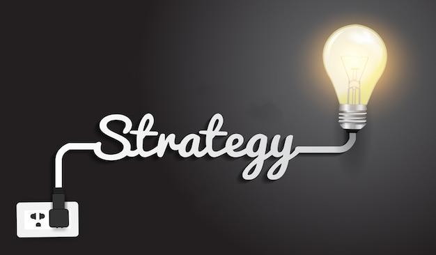 Modello di progettazione moderna di concetto di strategia, idea creativa della lampadina.