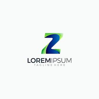 Modello di progettazione multicolore gradiente iniziale logo moderno lettera z
