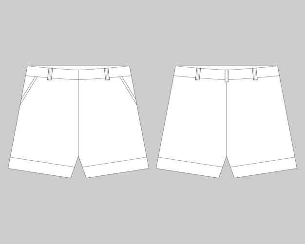Modello di progettazione pantaloncini schizzo tecnico