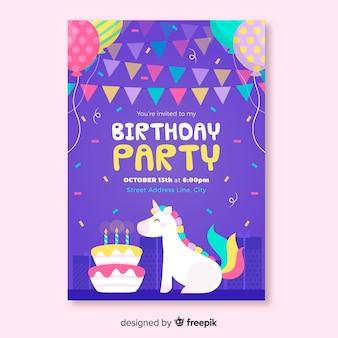 Modello di progettazione per invito di compleanno per bambini