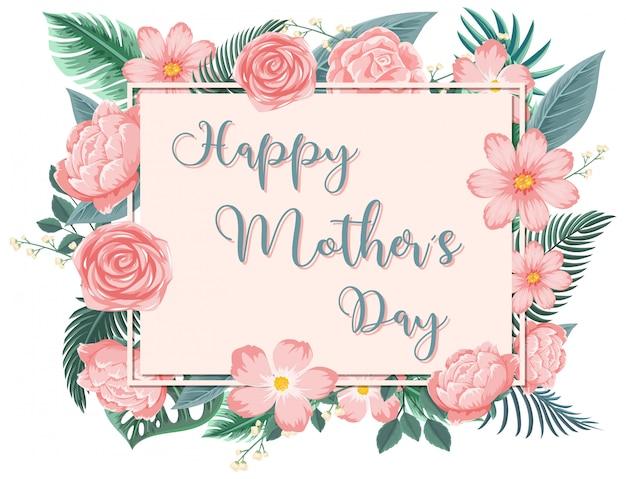 Modello di progettazione per la festa della mamma felice con rose rosa