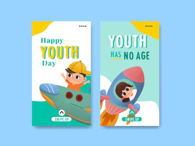 Modello di progettazione per la giornata della gioventù per la giornata internazionale della gioventù, social media, acquerello