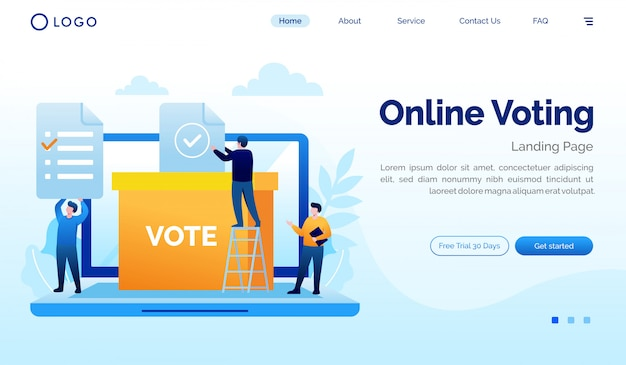 Modello di progettazione piana dell'illustrazione del sito web della pagina di destinazione di voto online