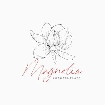 Modello di progettazione premium disegnato a mano elegante logo floreale