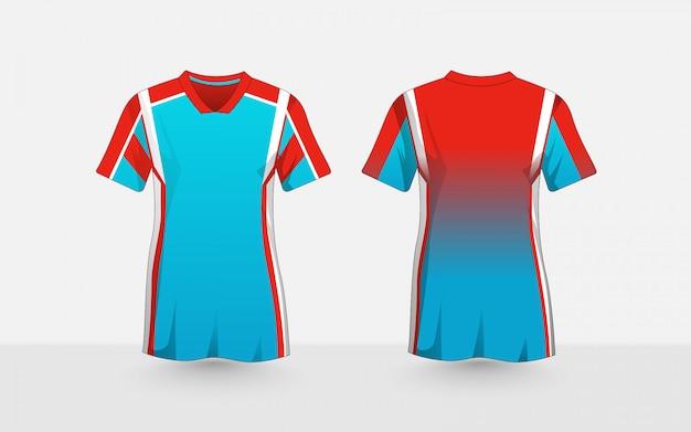 Modello di progettazione t-shirt e-sport layout blu, arancione e bianco