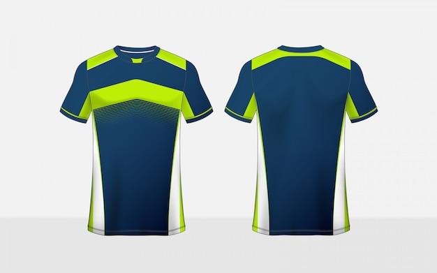 Modello di progettazione t-shirt e-sport layout layout blu, verde e bianco