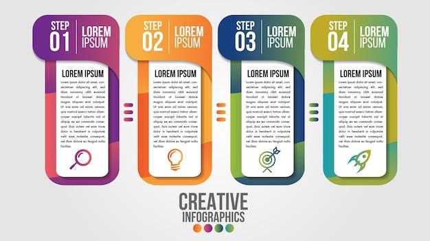 Modello di progettazione timeline moderna infografica con 4 passaggi