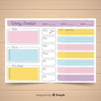Modello di programma settimanale adorabile con stile colorato