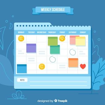 Modello di programma settimanale moderno con design piatto