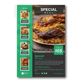 Modello di promozione dell'aletta di filatoio dell'alimento per il ristorante
