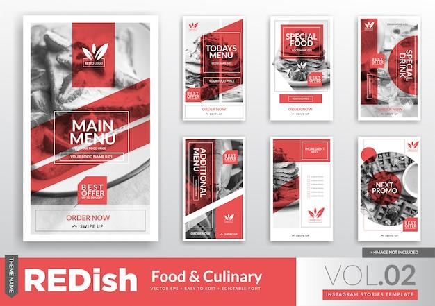 Modello di promozione di storie di instagram gastronomiche e culinarie