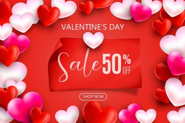Modello di promozione e acquisto per il concetto di amore e san valentino.