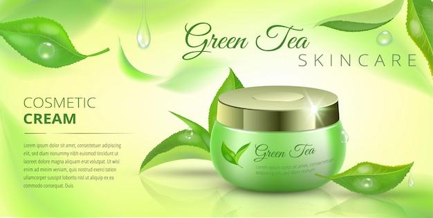 Modello di pubblicità cosmetica del tè verde, annunci con foglie volanti e pacchetto cosmetico.