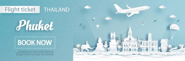Modello di pubblicità del biglietto e di volo con il viaggio a phuket, concetto della tailandia e punti di riferimento famosi nello stile del taglio della carta