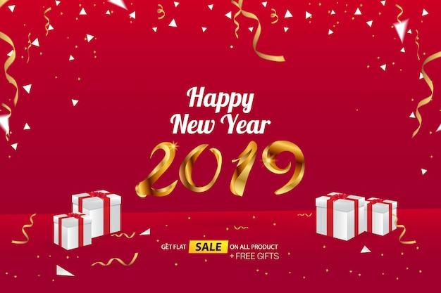 Modello di pubblicità dell'insegna di vendita del buon anno 2019