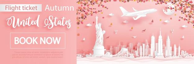 Modello di pubblicità di voli e biglietti con viaggio a new york, stati uniti