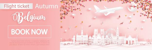 Modello di pubblicità di voli e biglietti con viaggio in belgio nella stagione autunnale con foglie d'acero che cadono