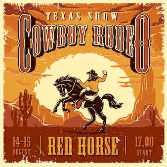 Modello di pubblicità spettacolo rodeo cowboy