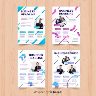 Modello di quattro business flyer geometrico
