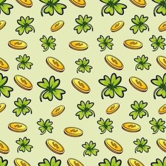 Modello di quattro foglie di alberi e monete.