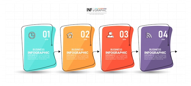 Modello di quattro passaggi di infografica creativa
