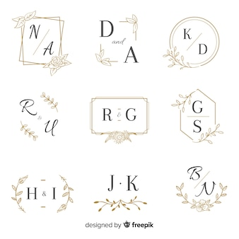 Modello di raccolta di nozze monogramma