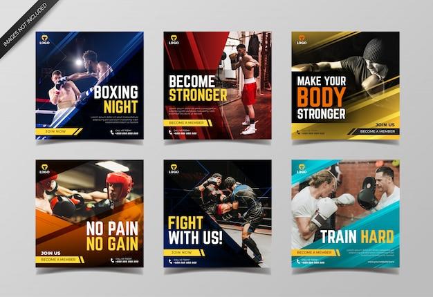 Modello di raccolta post sport instagram boxe