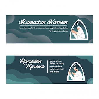 Modello di ramadan kareem banner con moslem praying illustration vector