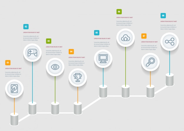 Modello di rapporto cronologia infografica con icone.