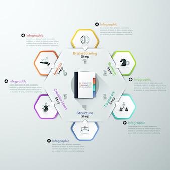 Modello di rapporto di infografica vettoriale realizzato da rettangoli di carta