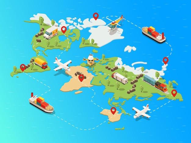 Modello di rete logistica globale isometrica con treno drone elicottero aereo nave camion che trasporta merci diverse