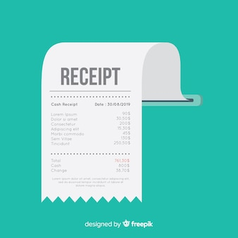 Modello di ricevuta di pagamento con design piatto