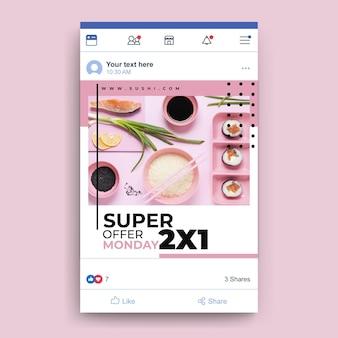 Modello di ristorante di cibo di facebook con foto