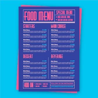 Modello di ristorante menu cibo colorato