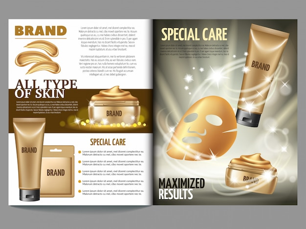 Modello di rivista cosmetica, maschera dorata e scrub