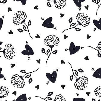Modello di rose fiori e cuori