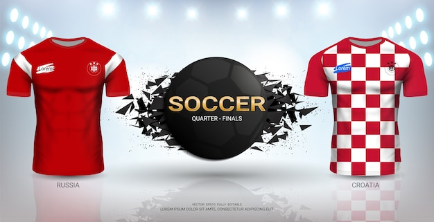 Modello di russia vs croazia soccer jersey.