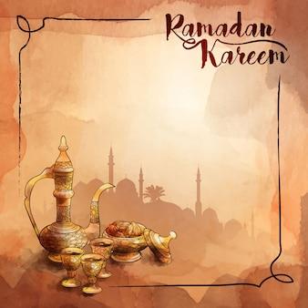 Modello di saluto del ramadan dell'acquerello disegnato a mano