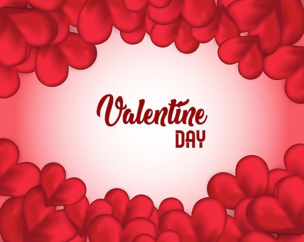 Modello di saluto giorno di san valentino, sfondo san valentino con il cuore