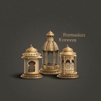 Modello di saluto islamico di ramadan kareem