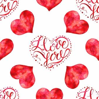 Modello di san valentino. acquerello. lettering