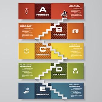 Modello di scala di progettazione infografica con 5 passaggi