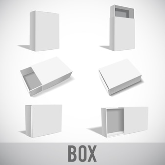 Modello di scatola bianca impostato isolato su bianco