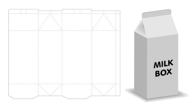 Modello di scatola di latte 3d mockup con dieline