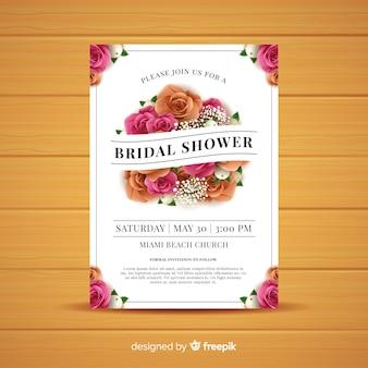 Modello di scheda dell'acquazzone bridal rose realistiche