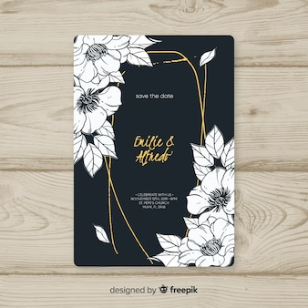 Modello di scheda dell'invito cornice floreale