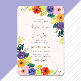 Modello di scheda dell'invito di nozze con cornice floreale dell'acquerello tropicale