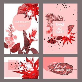 Modello di scheda dell'invito di nozze con i fiori e le foglie di palma.
