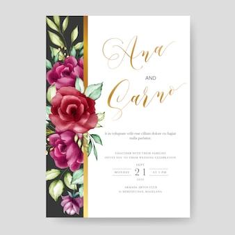 Modello di scheda dell'invito di nozze, disegno floreale dell'acquerello